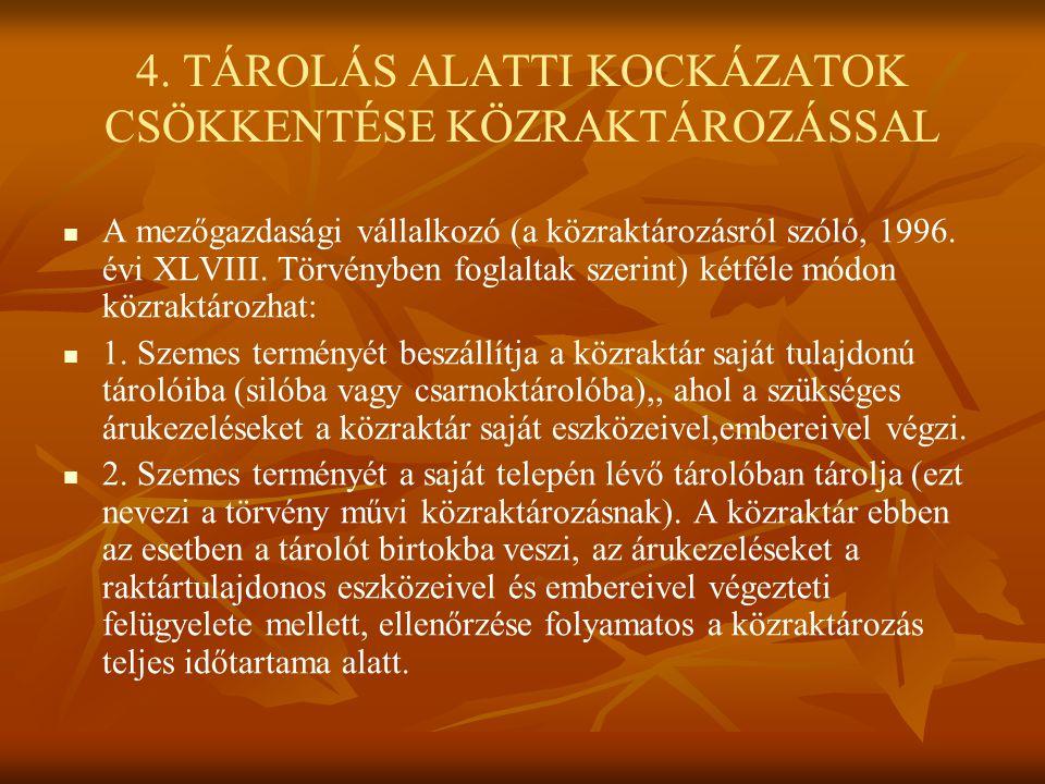 4. TÁROLÁS ALATTI KOCKÁZATOK CSÖKKENTÉSE KÖZRAKTÁROZÁSSAL
