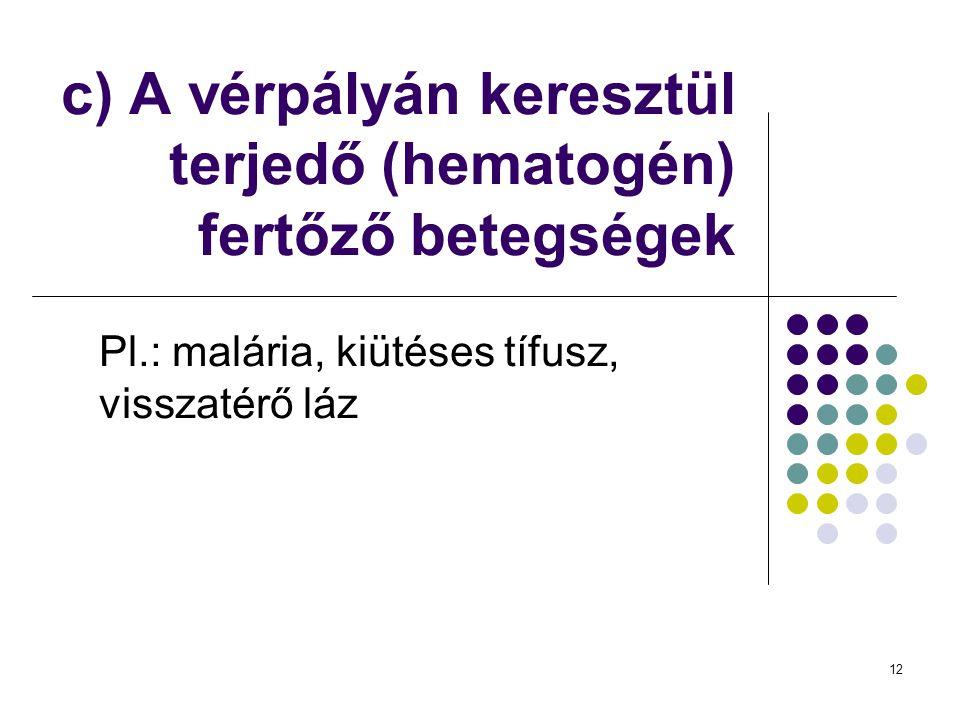 c) A vérpályán keresztül terjedő (hematogén) fertőző betegségek