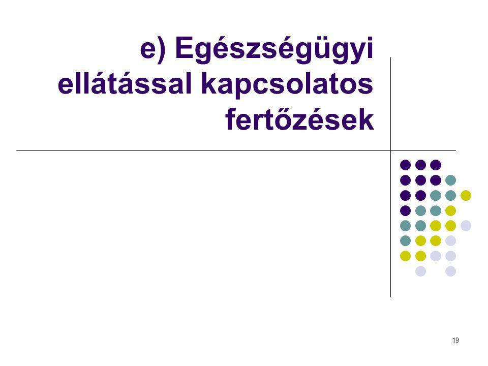 e) Egészségügyi ellátással kapcsolatos fertőzések