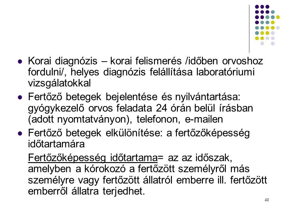 Korai diagnózis – korai felismerés /időben orvoshoz fordulni/, helyes diagnózis felállítása laboratóriumi vizsgálatokkal