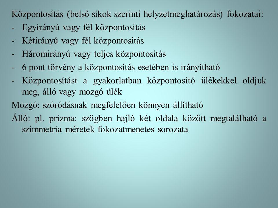 Központosítás (belső síkok szerinti helyzetmeghatározás) fokozatai: