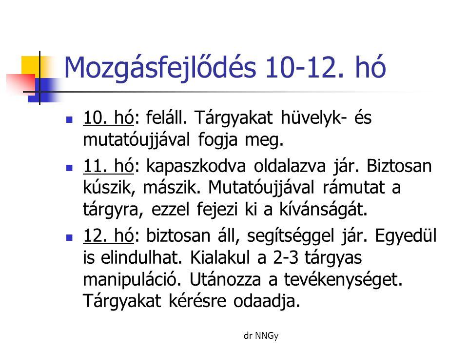 Mozgásfejlődés 10-12. hó 10. hó: feláll. Tárgyakat hüvelyk- és mutatóujjával fogja meg.