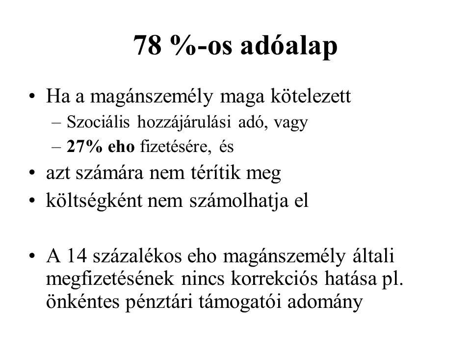 78 %-os adóalap Ha a magánszemély maga kötelezett
