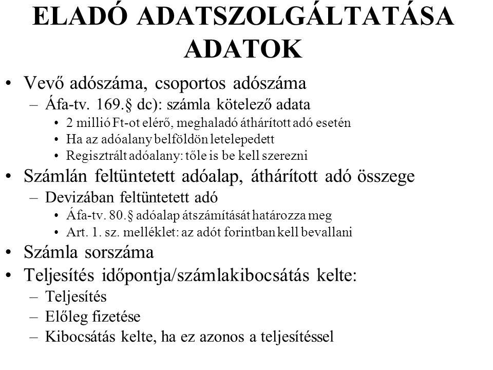 ELADÓ ADATSZOLGÁLTATÁSA ADATOK