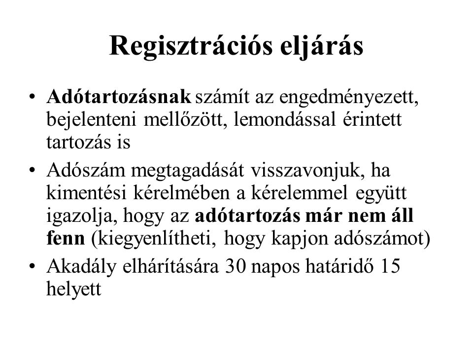 Regisztrációs eljárás