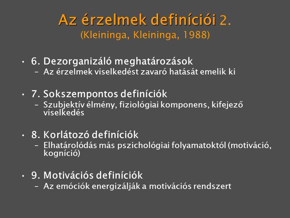 Az érzelmek definíciói 2. (Kleininga, Kleininga, 1988)