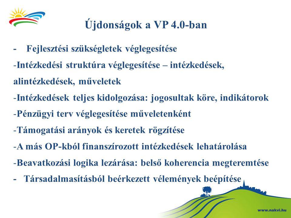 Újdonságok a VP 4.0-ban - Fejlesztési szükségletek véglegesítése