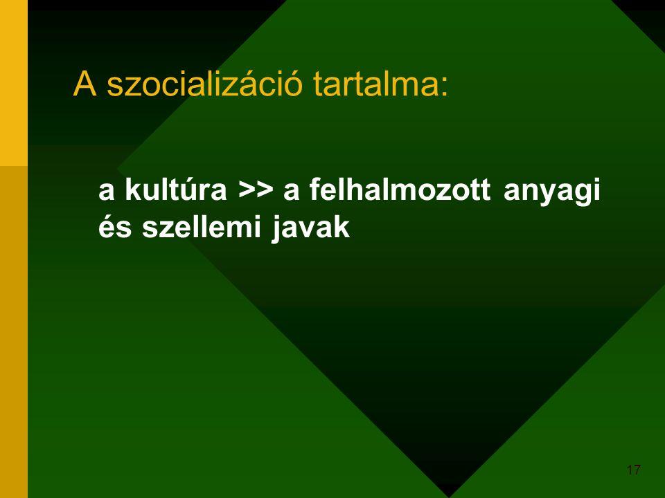A szocializáció tartalma: