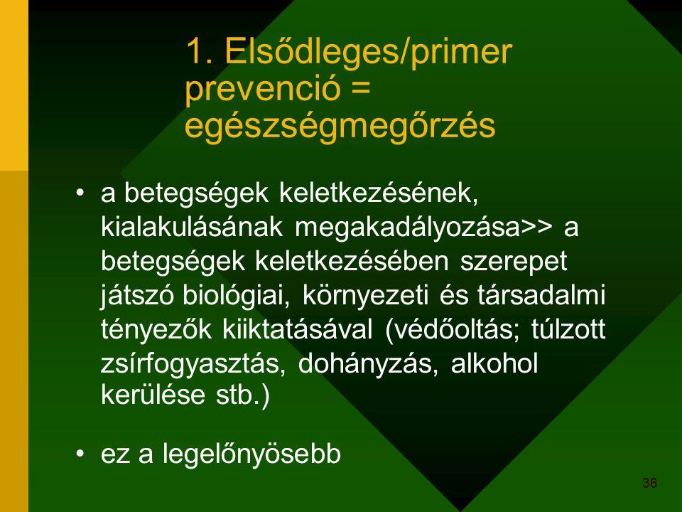 1. Elsődleges/primer prevenció = egészségmegőrzés