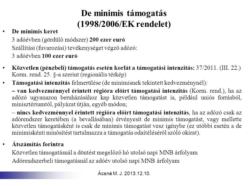 De minimis támogatás (1998/2006/EK rendelet)