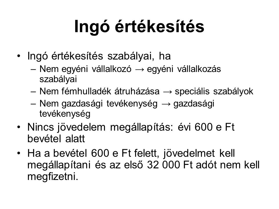 Ingó értékesítés Ingó értékesítés szabályai, ha