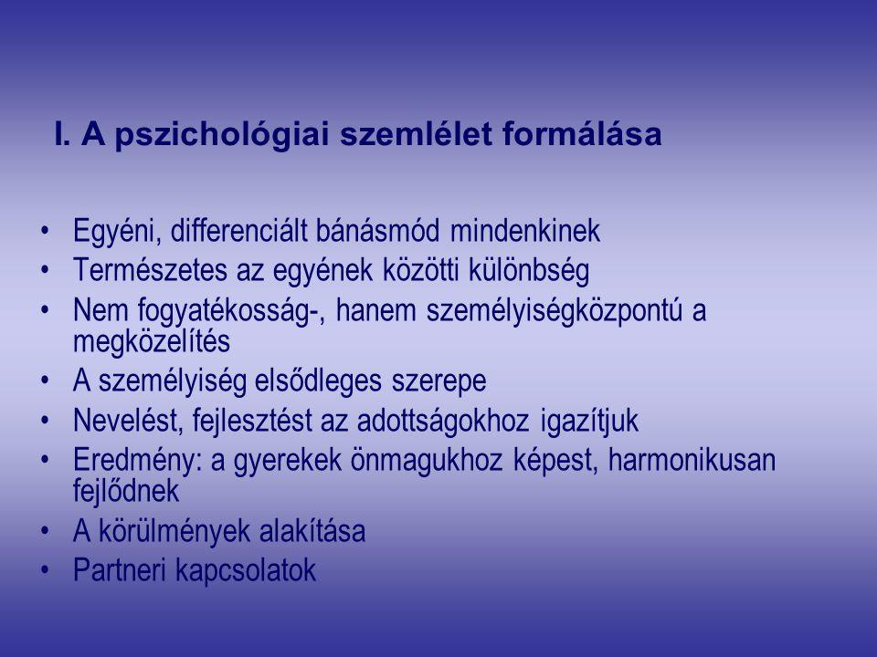 I. A pszichológiai szemlélet formálása