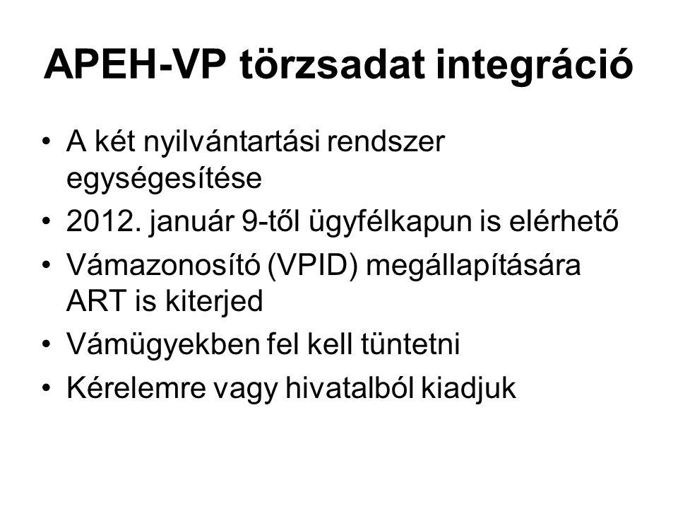APEH-VP törzsadat integráció