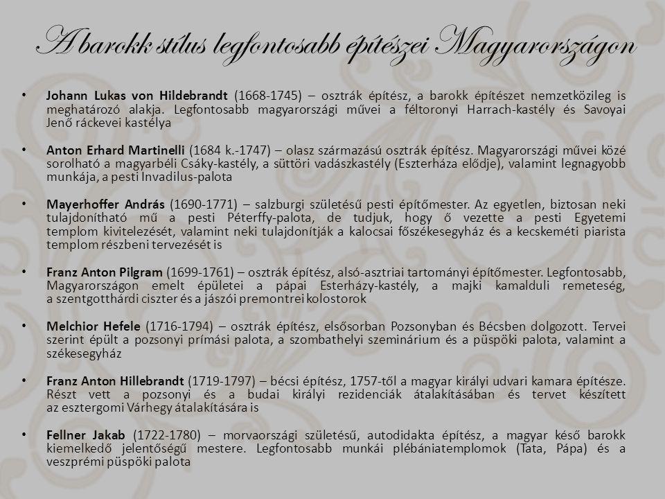 A barokk stílus legfontosabb építészei Magyarországon