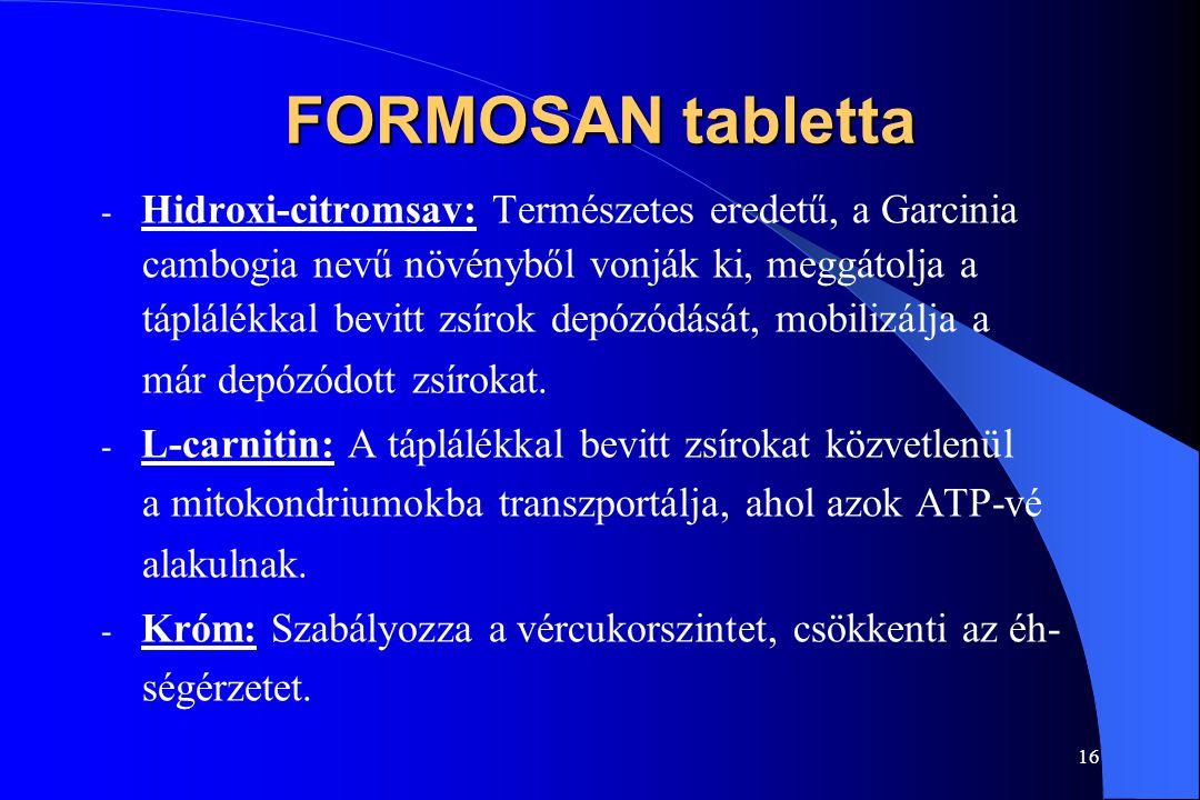 FORMOSAN tabletta Hidroxi-citromsav: Természetes eredetű, a Garcinia