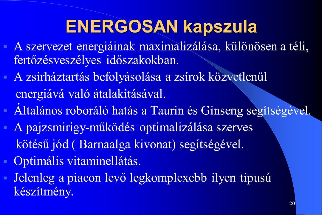 ENERGOSAN kapszula A szervezet energiáinak maximalizálása, különösen a téli, fertőzésveszélyes időszakokban.