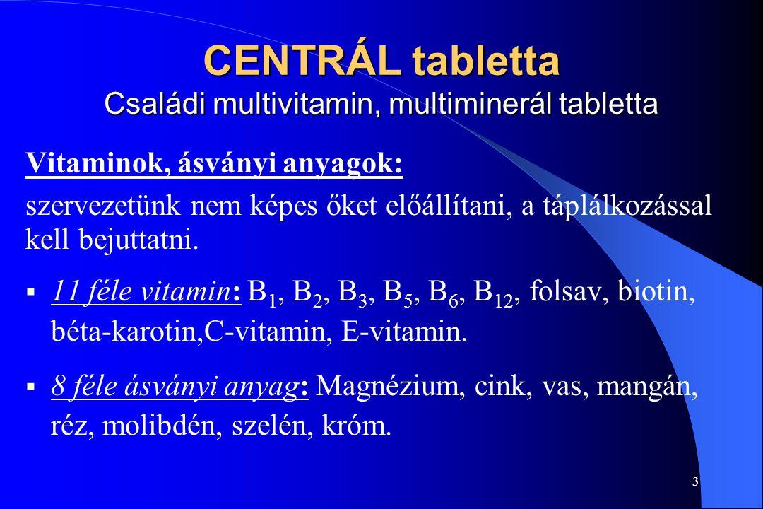 CENTRÁL tabletta Családi multivitamin, multiminerál tabletta