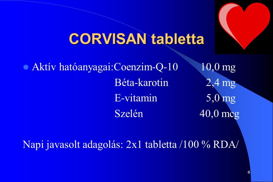 CORVISAN tabletta Aktív hatóanyagai:Coenzim-Q-10 10,0 mg