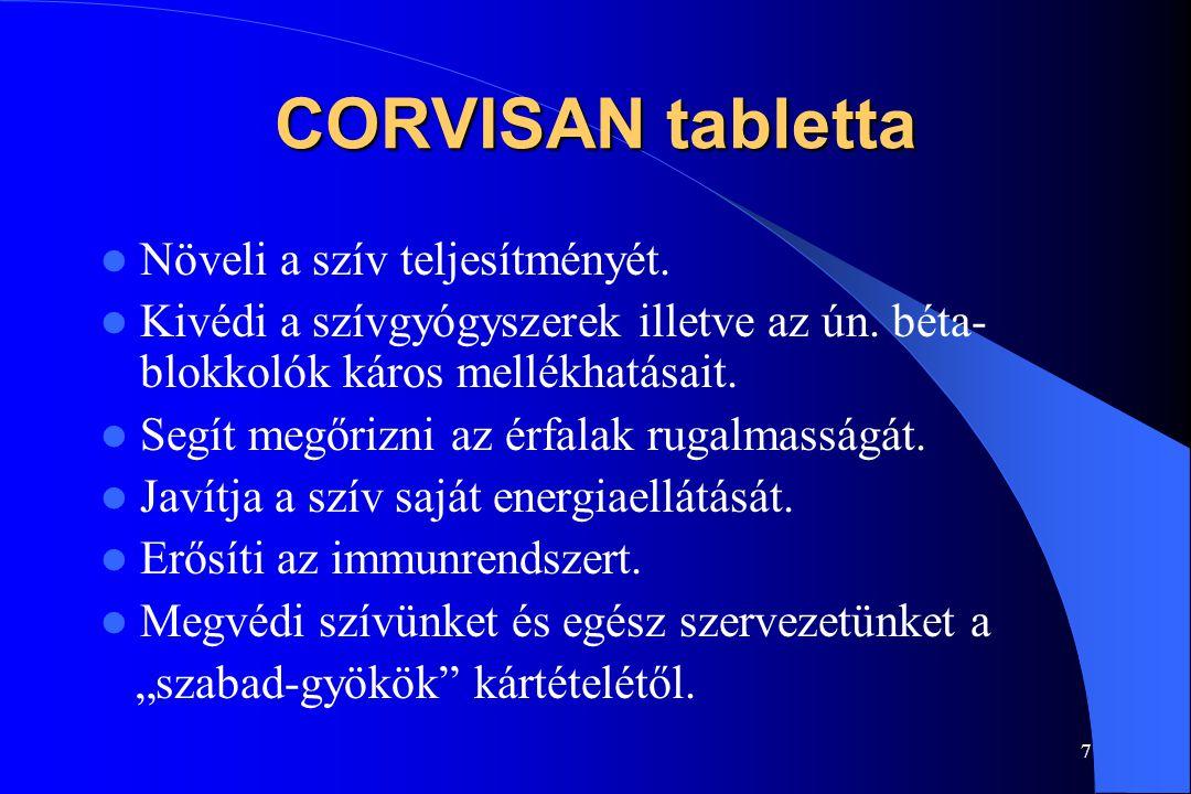 CORVISAN tabletta Növeli a szív teljesítményét.