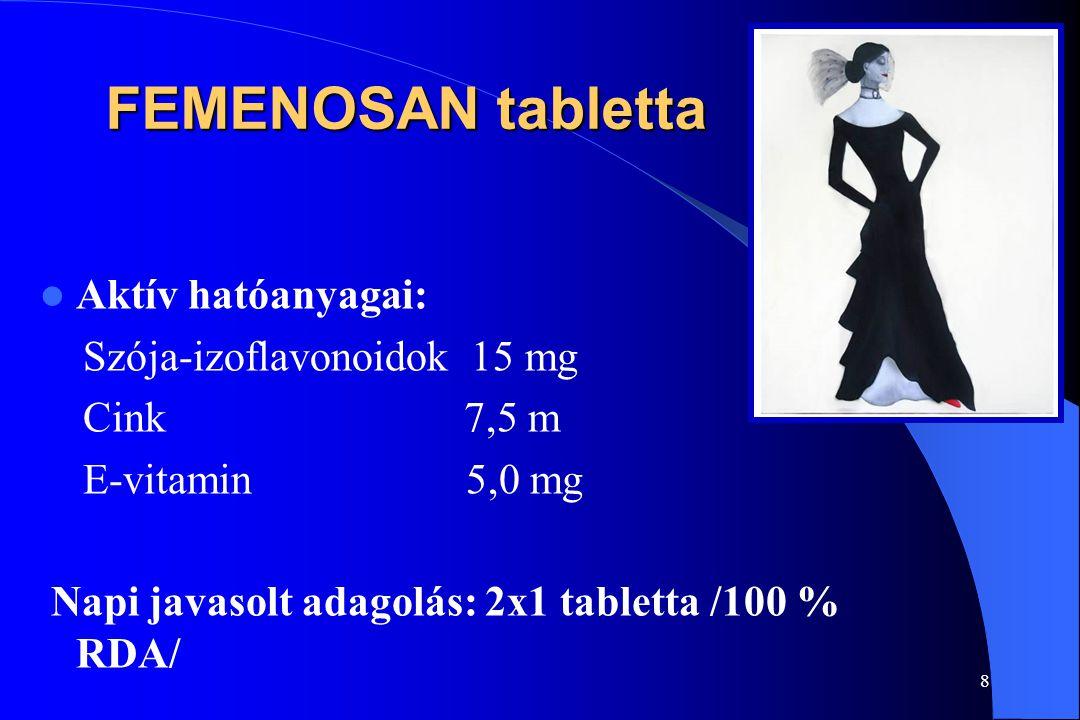 FEMENOSAN tabletta Aktív hatóanyagai: Szója-izoflavonoidok 15 mg