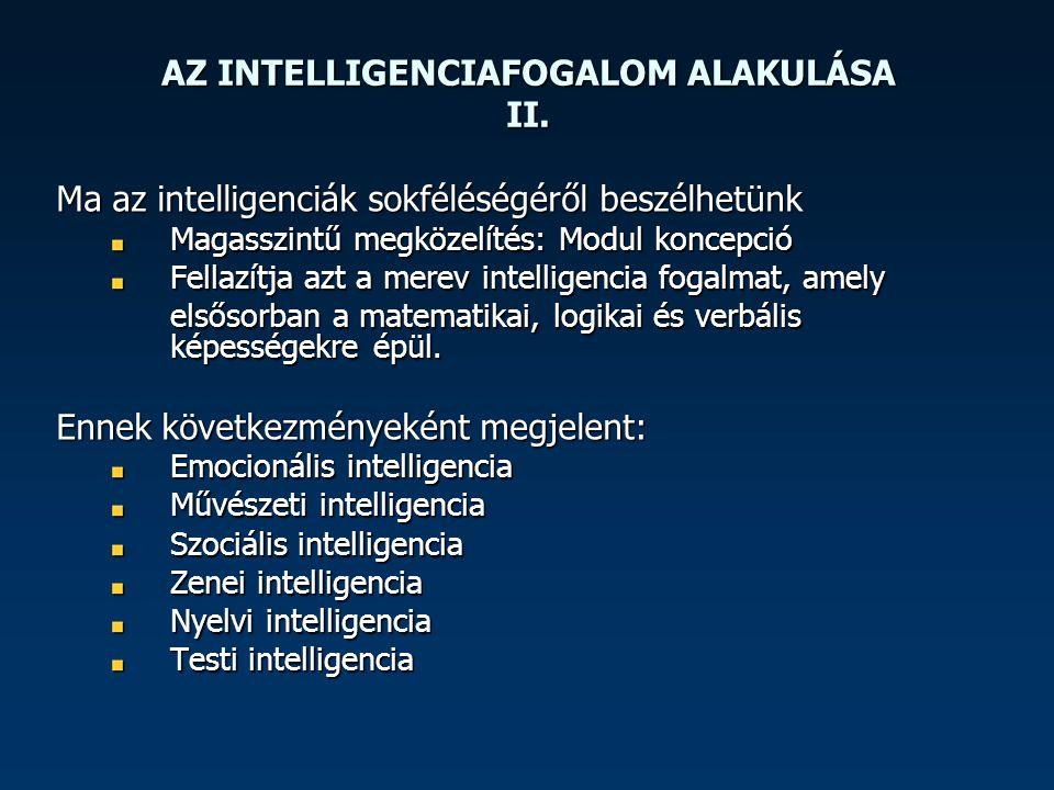 AZ INTELLIGENCIAFOGALOM ALAKULÁSA II.