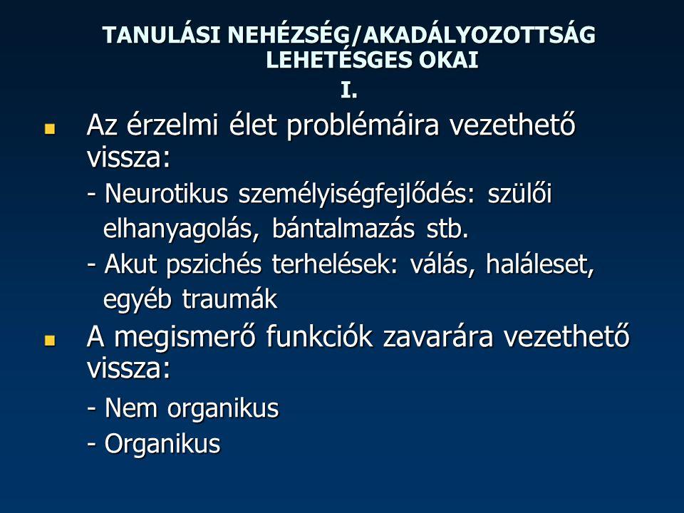 TANULÁSI NEHÉZSÉG/AKADÁLYOZOTTSÁG LEHETÉSGES OKAI