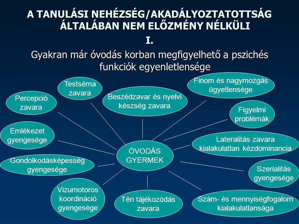 A TANULÁSI NEHÉZSÉG/AKADÁLYOZTATOTTSÁG ÁLTALÁBAN NEM ELŐZMÉNY NÉLKÜLI