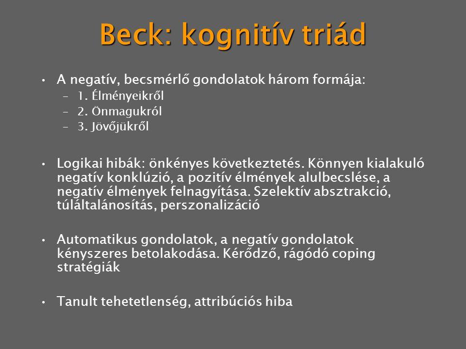 Beck: kognitív triád A negatív, becsmérlő gondolatok három formája: