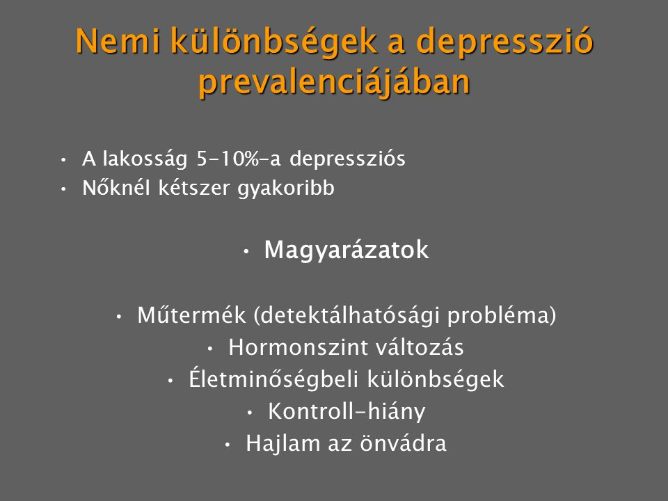 Nemi különbségek a depresszió prevalenciájában