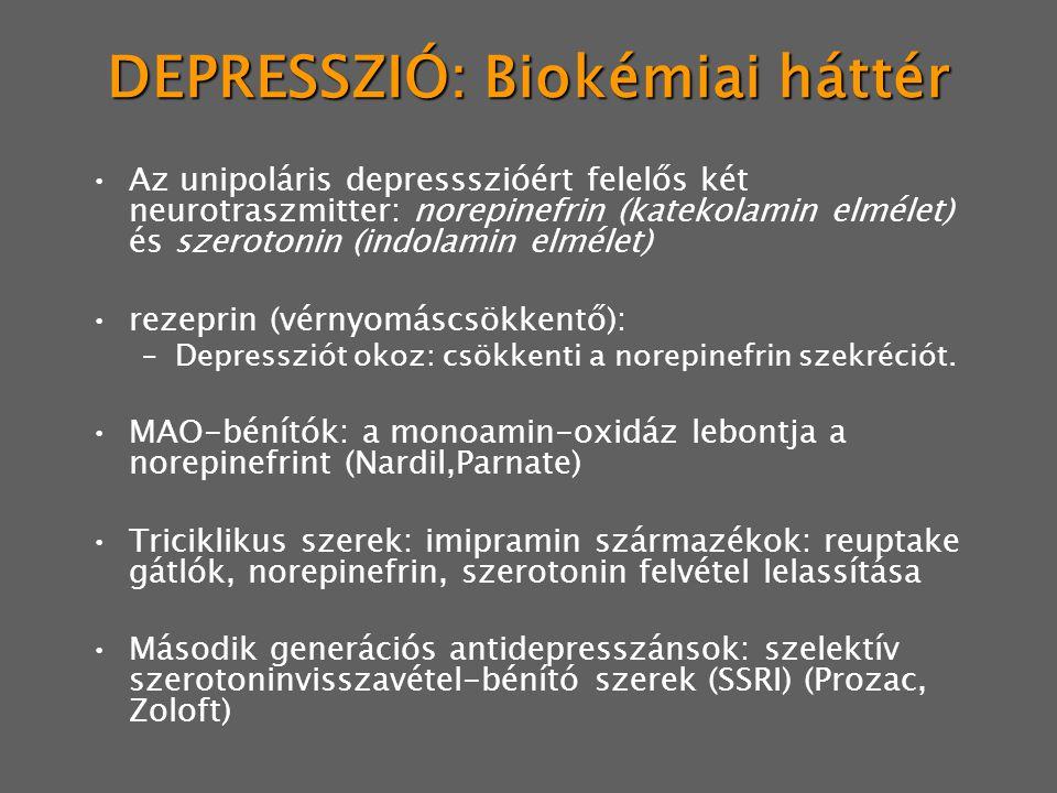 DEPRESSZIÓ: Biokémiai háttér