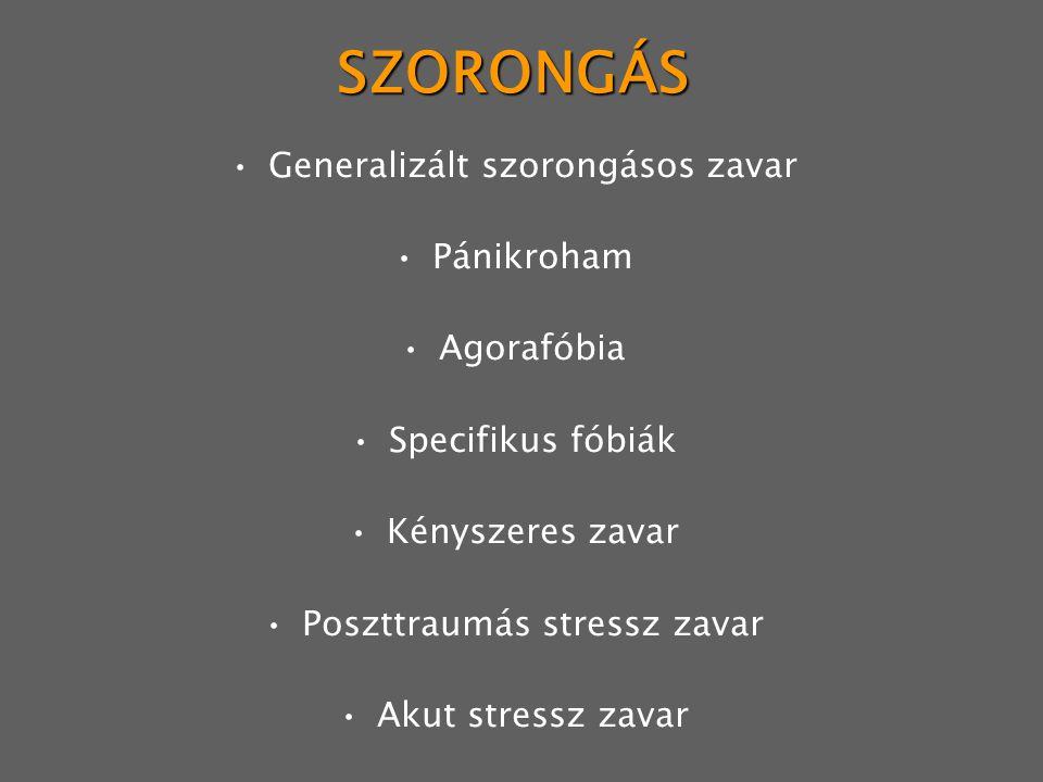 SZORONGÁS Generalizált szorongásos zavar Pánikroham Agorafóbia