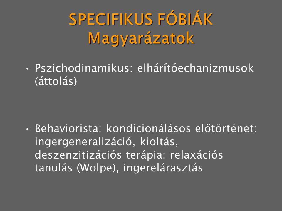 SPECIFIKUS FÓBIÁK Magyarázatok