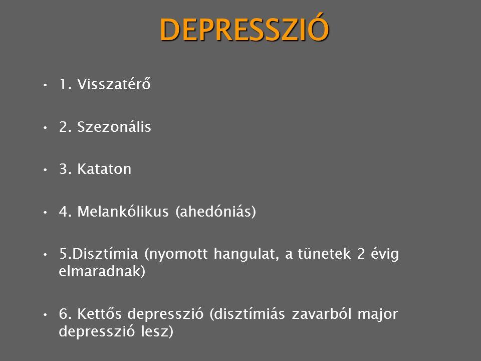 DEPRESSZIÓ 1. Visszatérő 2. Szezonális 3. Kataton