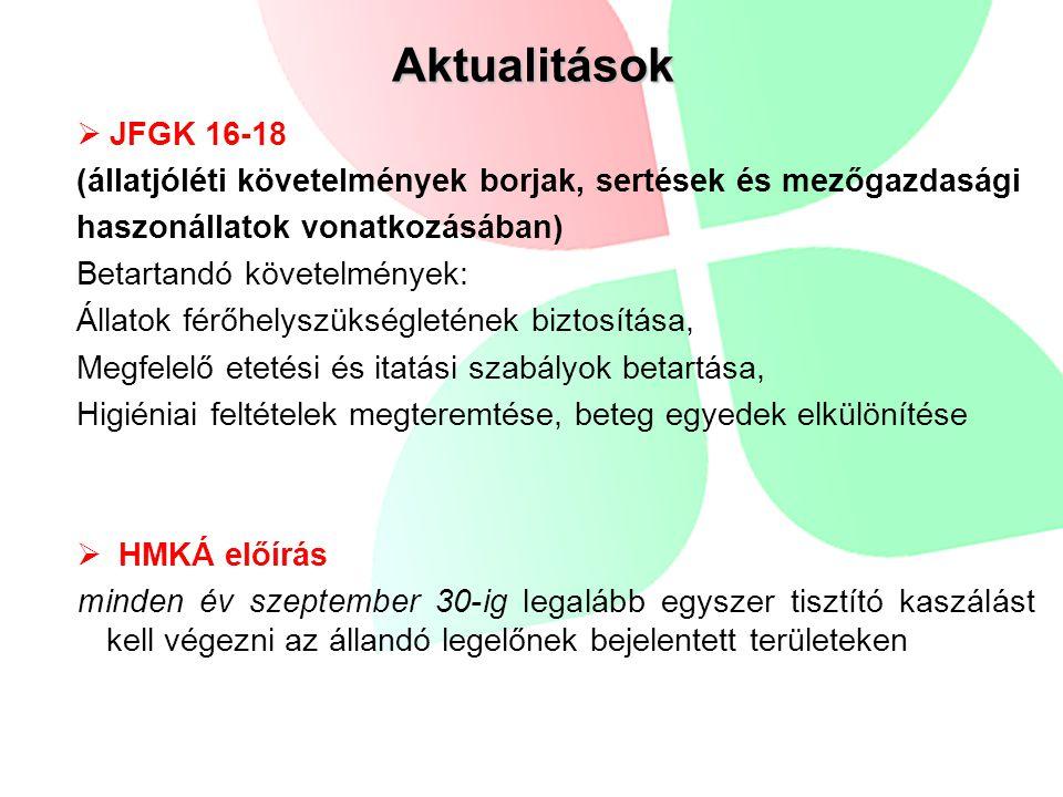 Aktualitások JFGK 16-18. (állatjóléti követelmények borjak, sertések és mezőgazdasági. haszonállatok vonatkozásában)