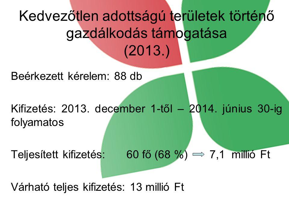 Kedvezőtlen adottságú területek történő gazdálkodás támogatása (2013.)