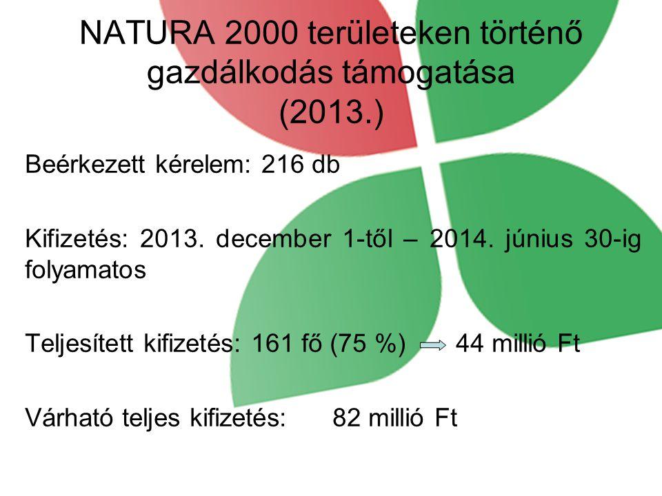 NATURA 2000 területeken történő gazdálkodás támogatása (2013.)