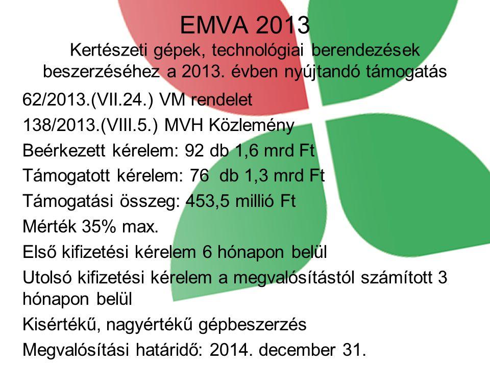 EMVA 2013 Kertészeti gépek, technológiai berendezések beszerzéséhez a 2013. évben nyújtandó támogatás