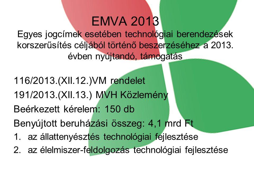 EMVA 2013 Egyes jogcímek esetében technológiai berendezések korszerűsítés céljából történő beszerzéséhez a 2013. évben nyújtandó, támogatás