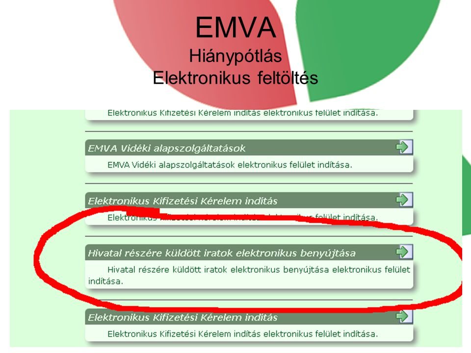 EMVA Hiánypótlás Elektronikus feltöltés