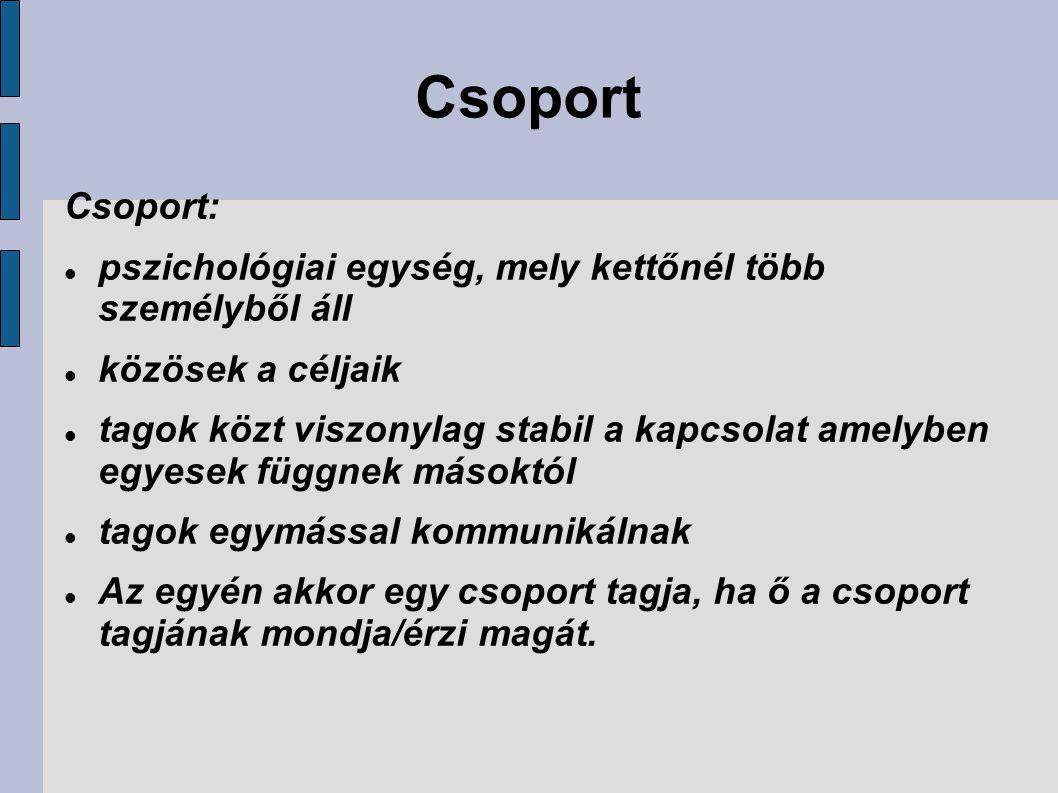 Csoport Csoport: pszichológiai egység, mely kettőnél több személyből áll. közösek a céljaik.
