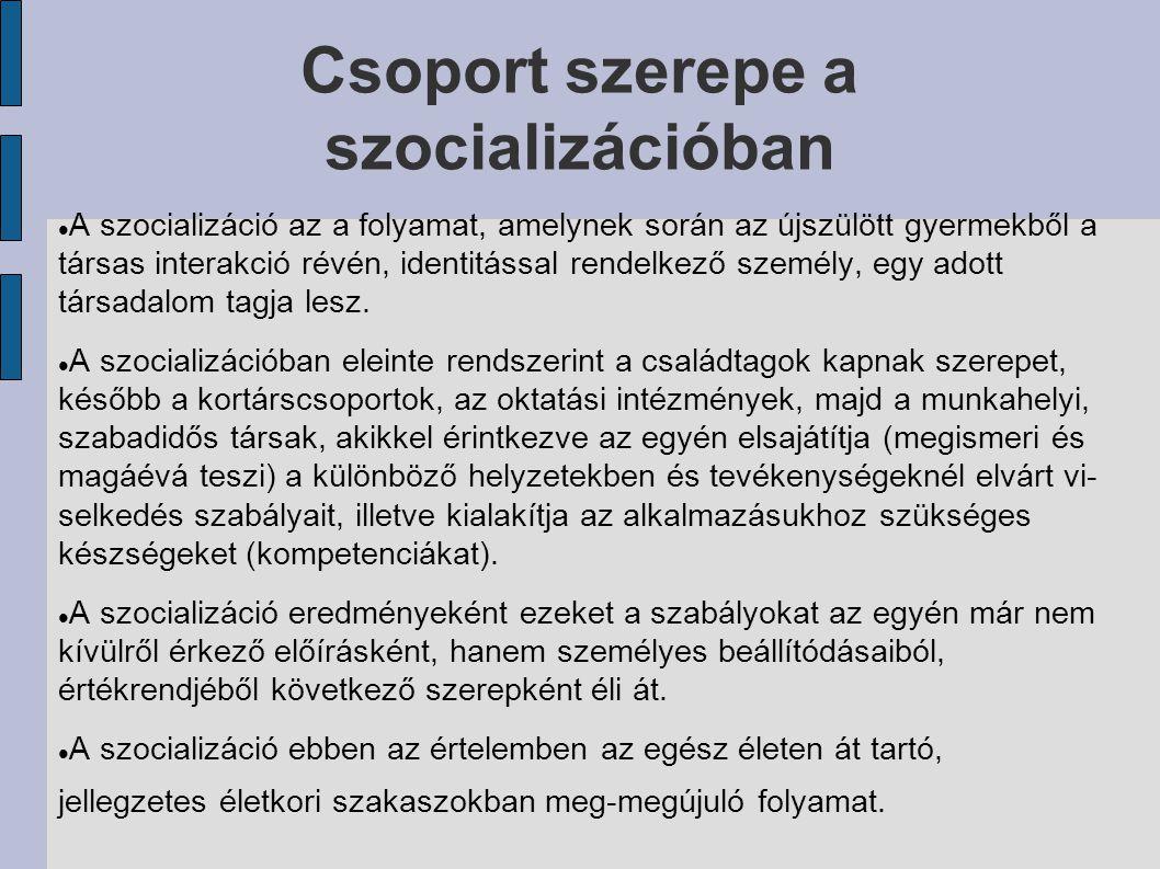 Csoport szerepe a szocializációban