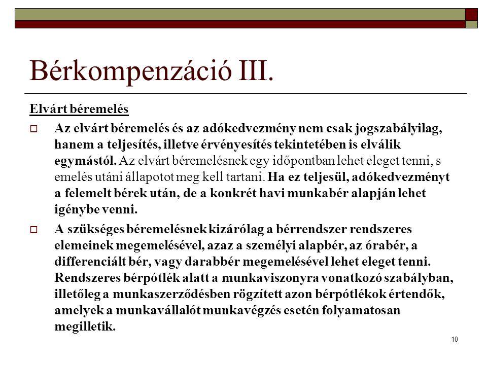 Bérkompenzáció III. Elvárt béremelés