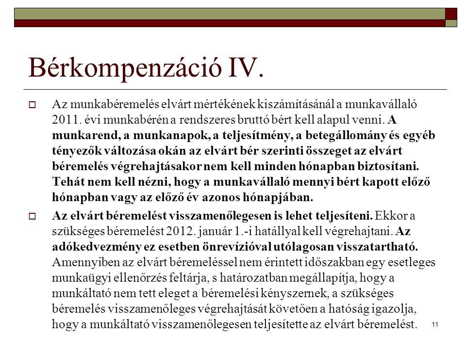 Bérkompenzáció IV.