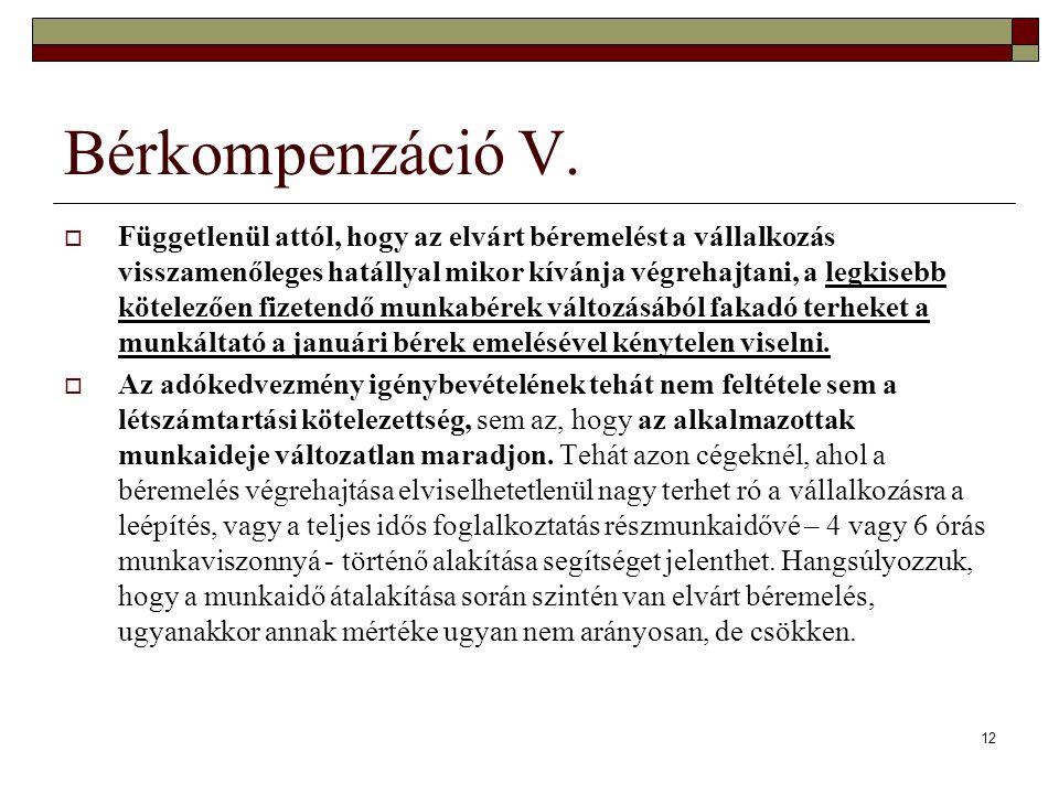 Bérkompenzáció V.