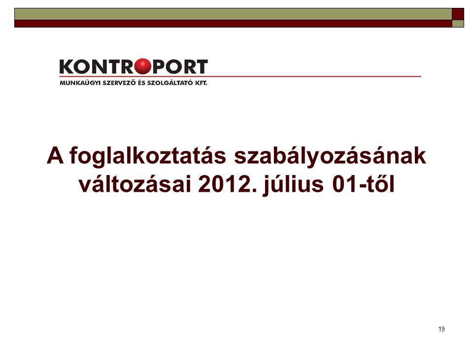 A foglalkoztatás szabályozásának változásai 2012. július 01-től