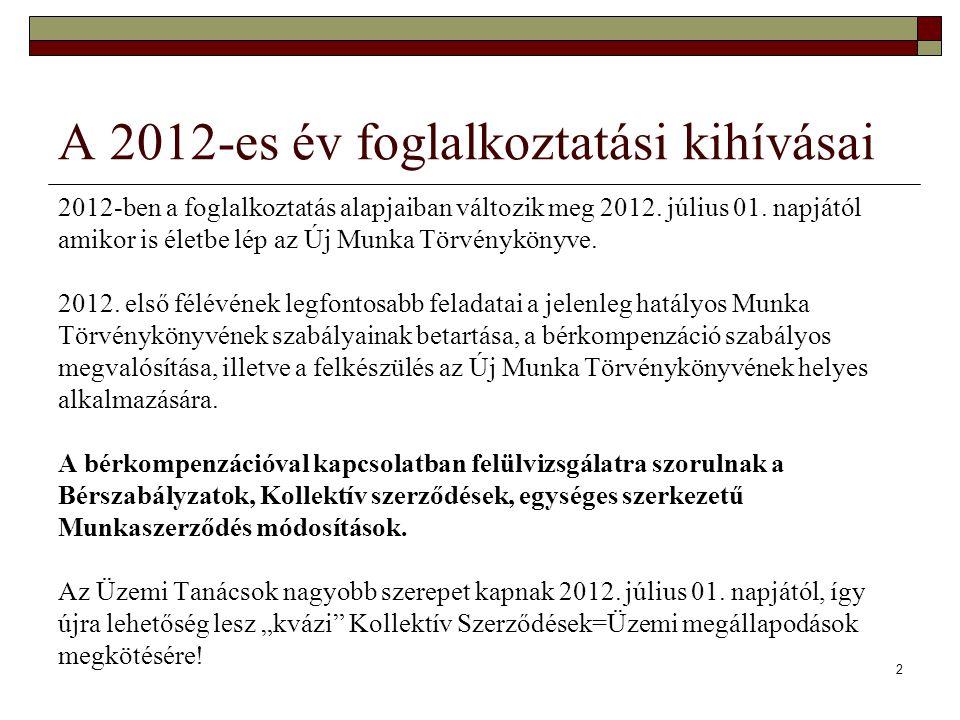 A 2012-es év foglalkoztatási kihívásai