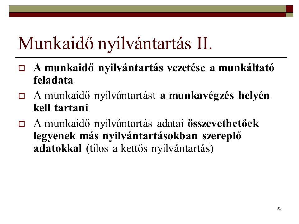 Munkaidő nyilvántartás II.