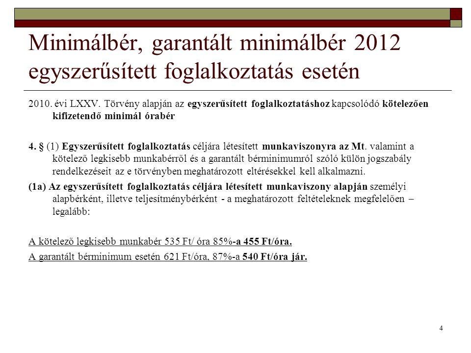 Minimálbér, garantált minimálbér 2012 egyszerűsített foglalkoztatás esetén