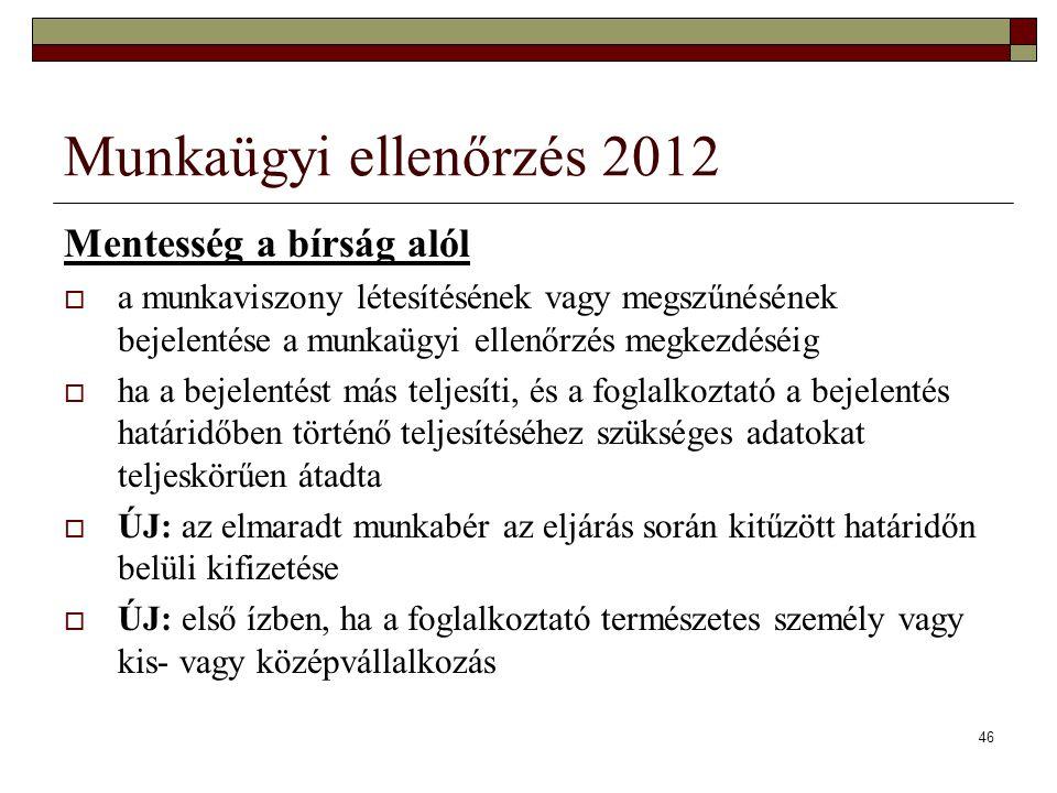 Munkaügyi ellenőrzés 2012 Mentesség a bírság alól