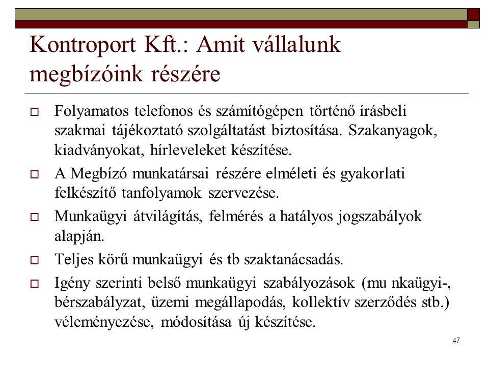 Kontroport Kft.: Amit vállalunk megbízóink részére